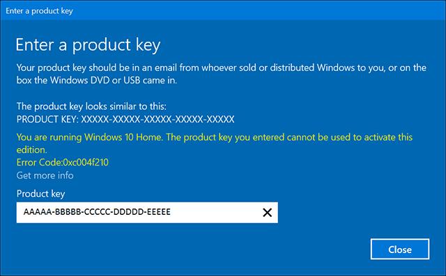 use product key to  windows 10