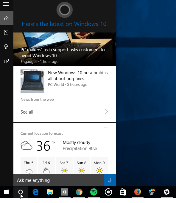 Cortana Info Cards