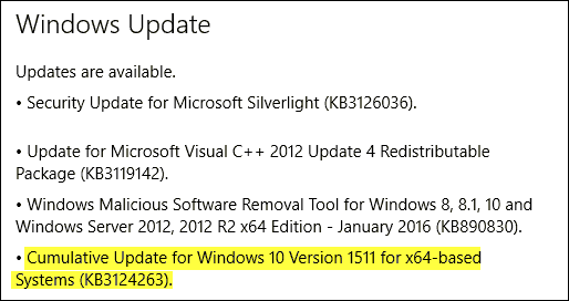 Cumulative Update KB3124263