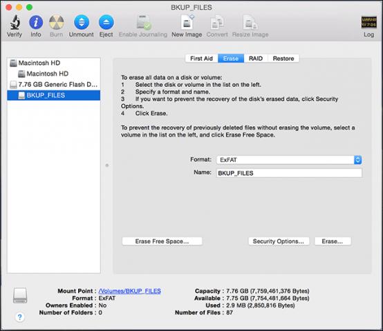 Disk utility exfat