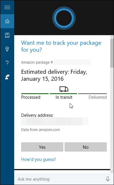 Package Tracking Cortana