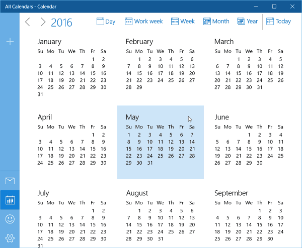 Calendar Year View : Calendar app for windows insider build gets year view