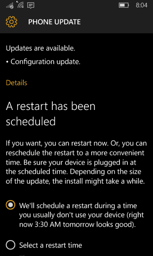 Windows 10 mobile Configuration Update