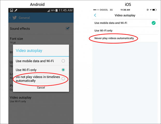 Disable Auto-Play Videos on Mobile Devices to Save Data