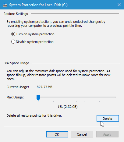 Delete Old Windows 10 System Restore Points to Free Up Disk Space