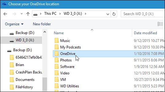 new OneDrive location