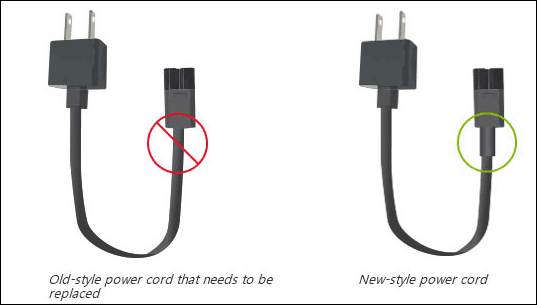 old and new power cords Surface
