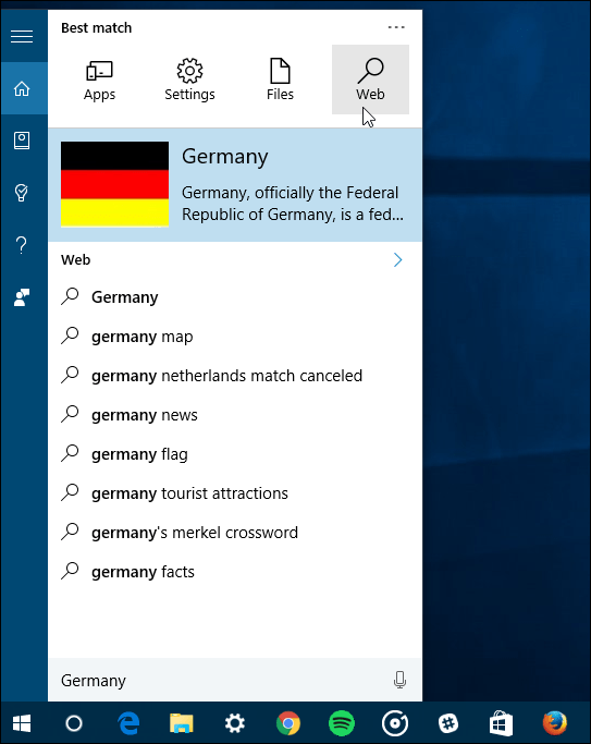 search filters Windows 10