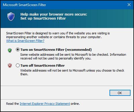 turn off SmartScreen