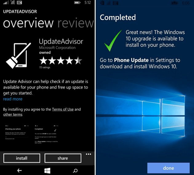 update and upgrade advisor apps windows phone