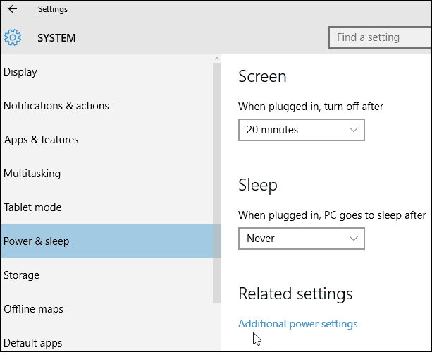 1 Additional Power Settings