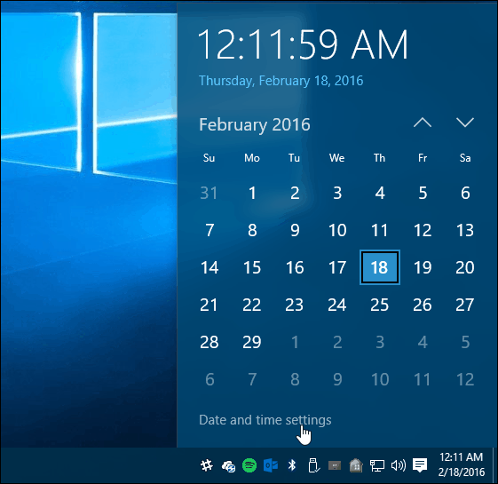 1 Win 10 Date time settings