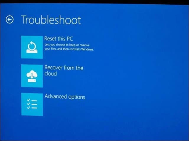 Use Recover from the Cloud to Reinstall Windows 10 on Surface Book or Surface Pro