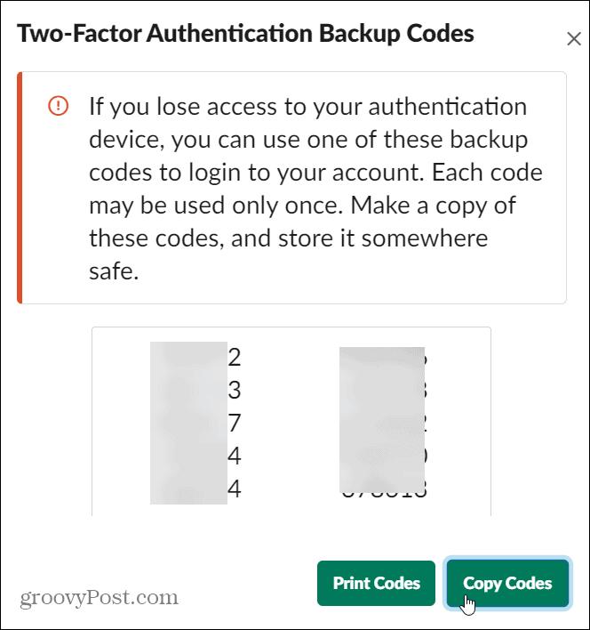 2fa codes