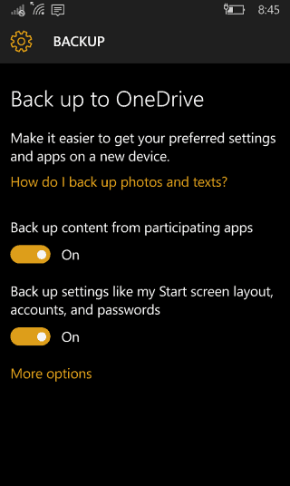 Back up to OneDrive