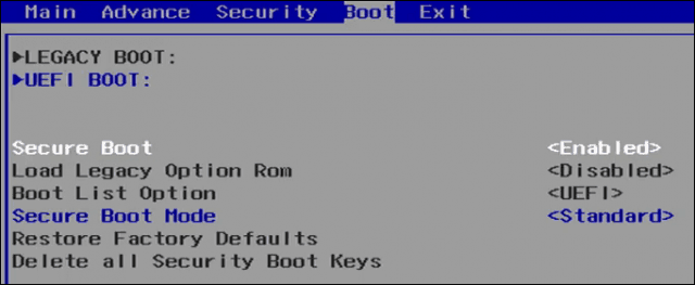 Disable Secure Boot 1