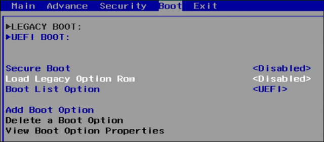Enable Legacy Boot