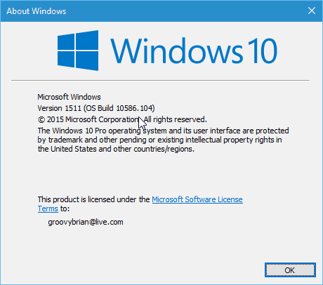 Version 1511 Build 10586.104