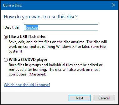 How to Burn Files to CD or DVD on Windows 10