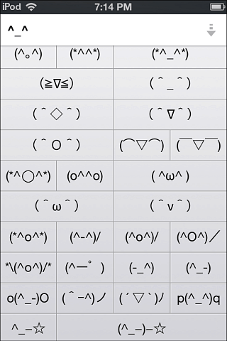 ipod unicode emoticons