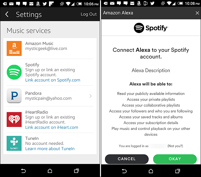 sing into Spotify Android app