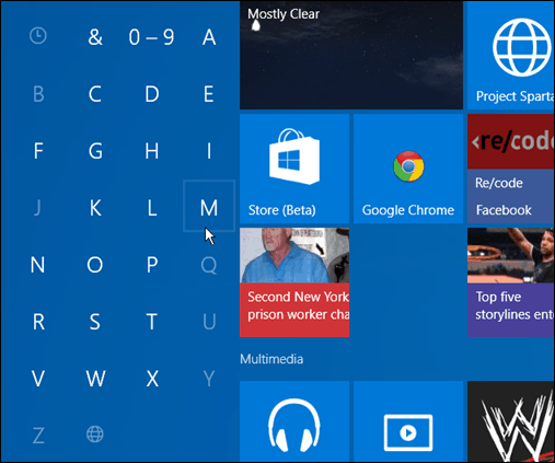 Search apps first letter Windows 10