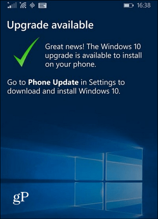 Win10 mobile upgrade available