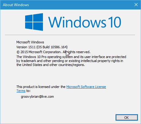 Windows 10 winver