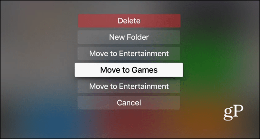 folder options Apple TV