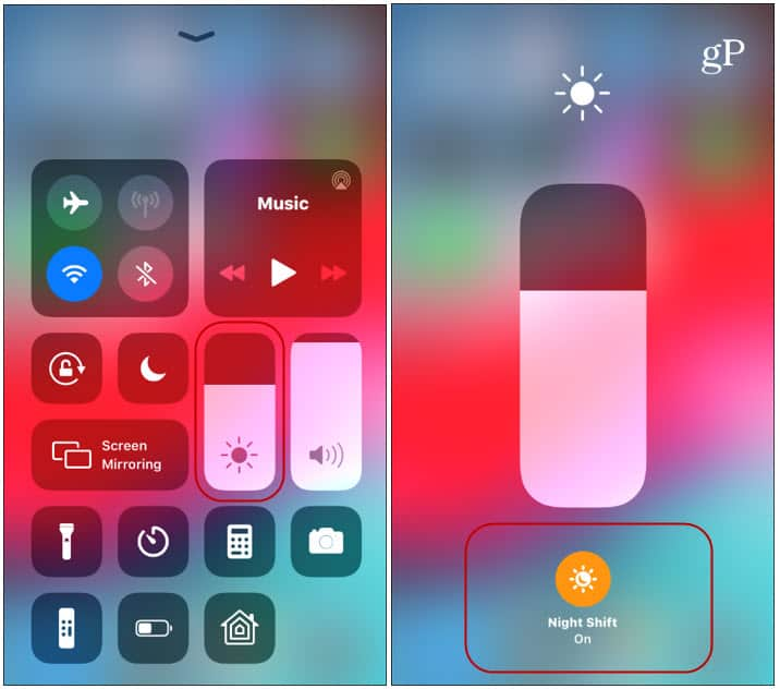 iOS Control Center Night Shift