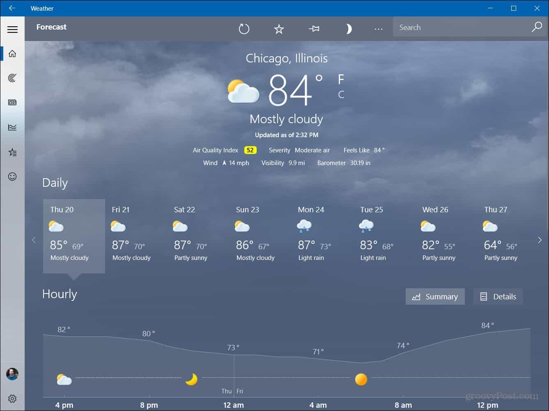 Weather App Windows 10