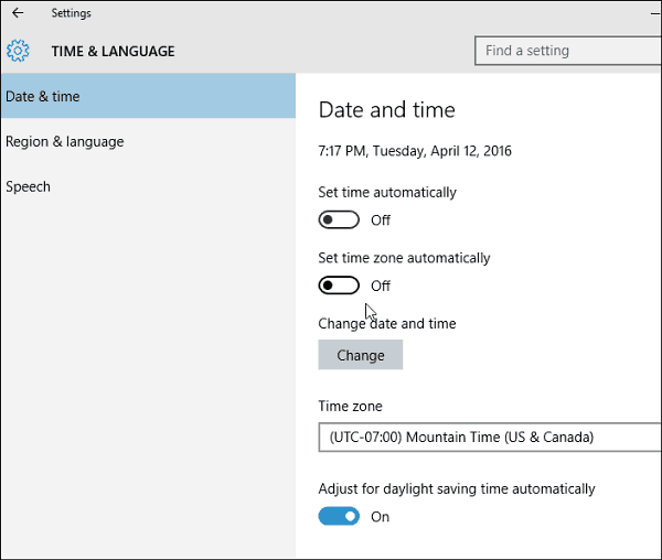 how to fix date and time on windows 10