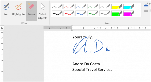 How to Activate and Use Inking in Word 2016