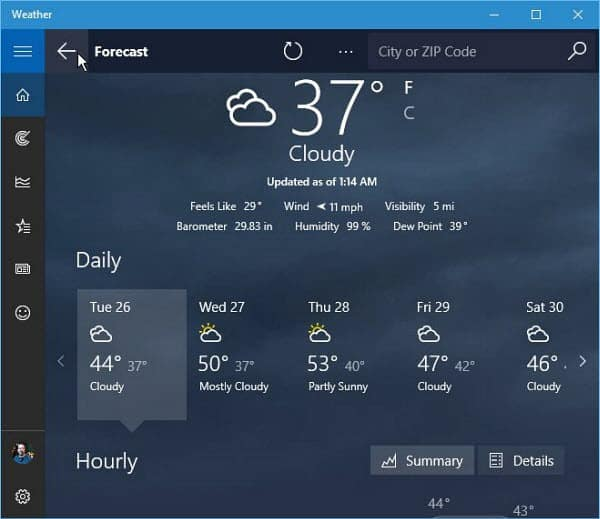 Windows 10 Weather App Forecast
