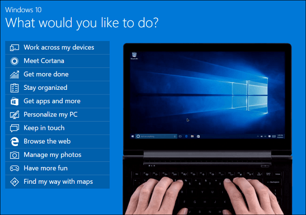 Windows 10 demo topics