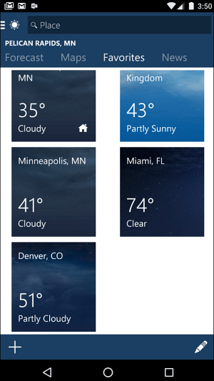 android MSN Weather App