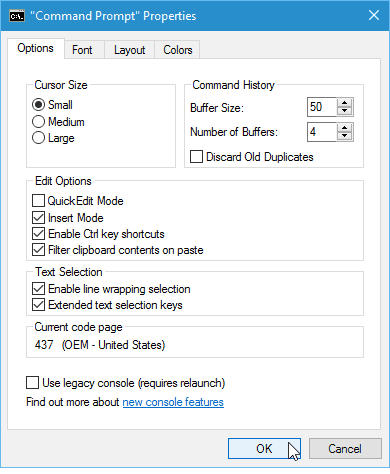 cmd prompt options tab