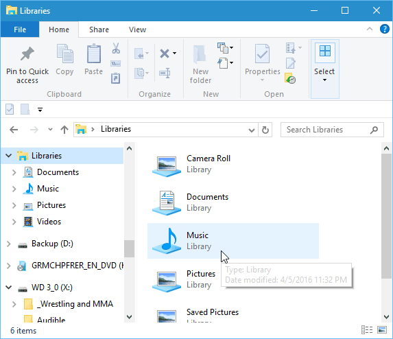 libraries file explorer