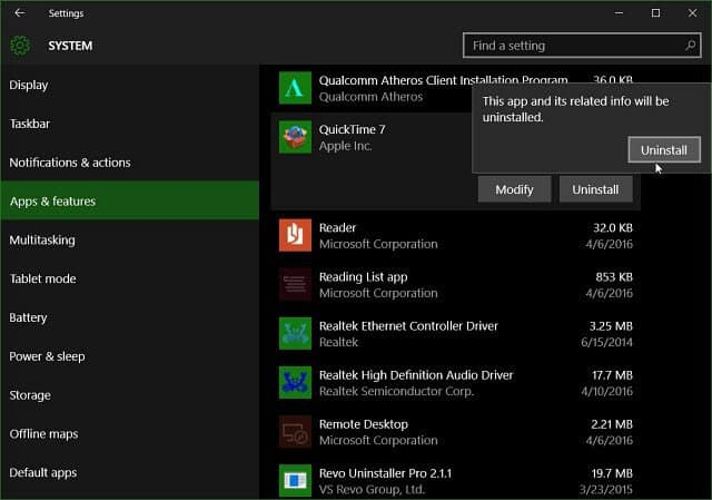 uninstall QT Windows 10