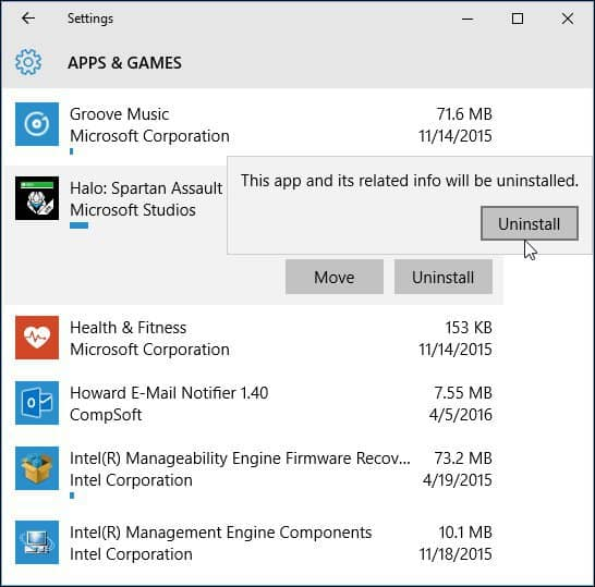 uninstall apps