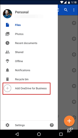 Android OneDrive Business