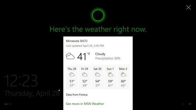 Cortana on Lock Screen Windows 10