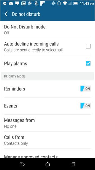 HTC One Do Not Disturb