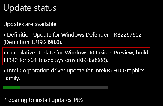 KB3158988 Update Preview Build 14342
