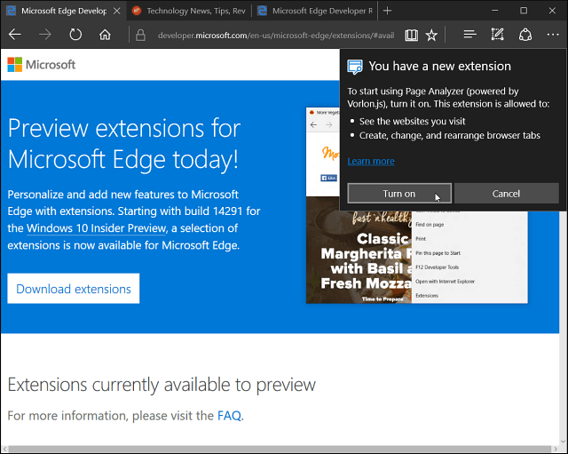Microsoft Edge Extension Installed
