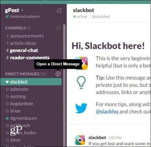 Slack Open Direct Message