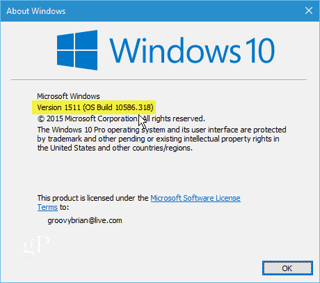 Windows 10 Version 1511 Build 10586-318