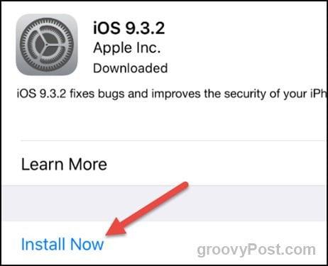 apple ios 9.3.2 install