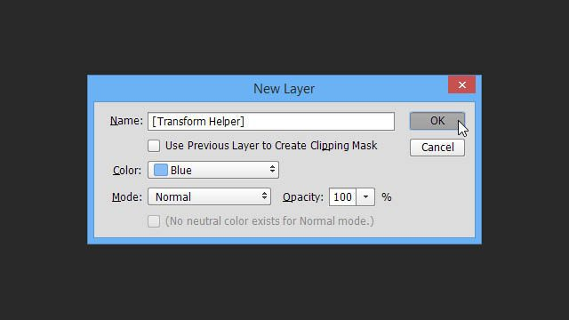 Cheat Photoshop Text Layer Transformations Trick new layer dialog box name color mode transform helper layer create cheat