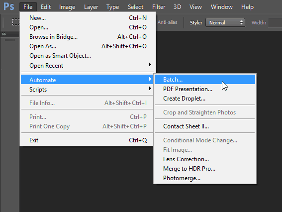 file automate batch Photoshop batch edit feature menu panel
